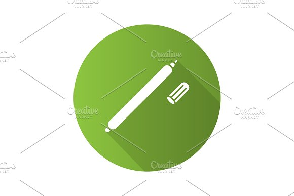 Fabric Marker Pen Flat Design Long Shadow Glyph Icon