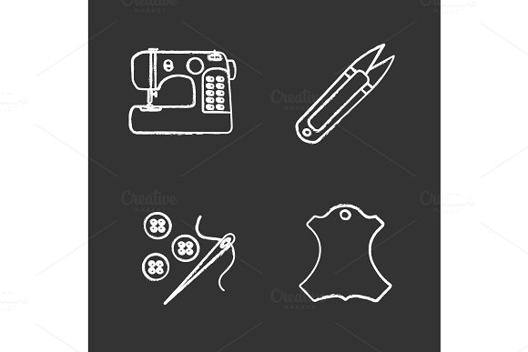 Tailoring Chalk Icons Set