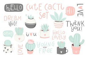 Cute cactus and lettering set♥