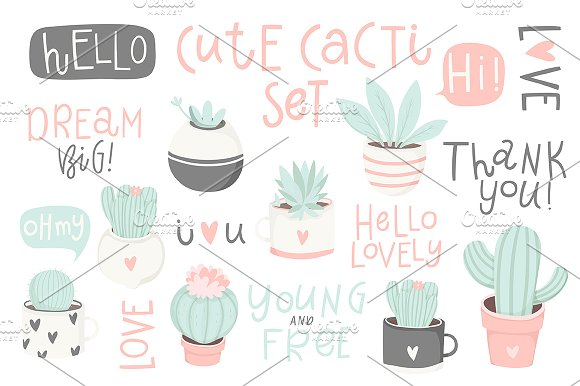 Cute Cactus And Lettering Set