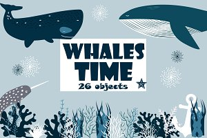 Whales time, clipart, patterns etc.
