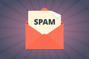 Spam mail illustration in flat style