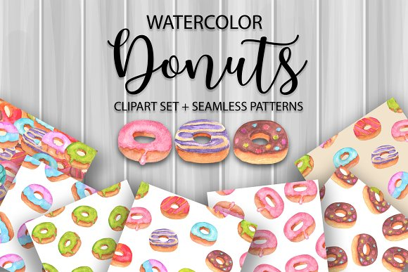 Donuts Watercolor Clipart Patterns