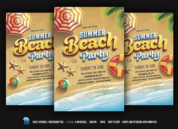 summer beach party flyer templates creative market