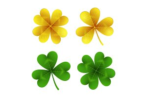 Gold and green clover leaves isolated on white background.St. Patrick Day shamrock and four-leafed traditional Irish symbols of luck, wealth and celebration. Vector illustration.