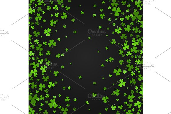 Saint Patrick S Day Border With Green Four And Tree Leaf Clovers On Black Background Vector Illustration Party Invitation Design Typographic Template Lucky And Success Symbols