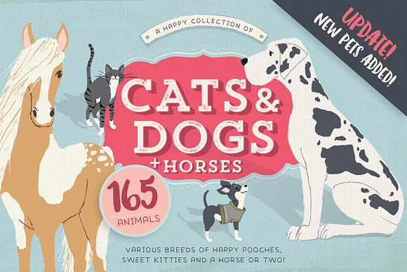 Cats, Dog breeds & Horses: 165 pets in Illustrations