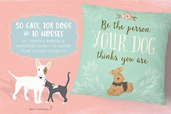 Cats, Dog breeds & Horses: 165 pets in Illustrations - product preview 1