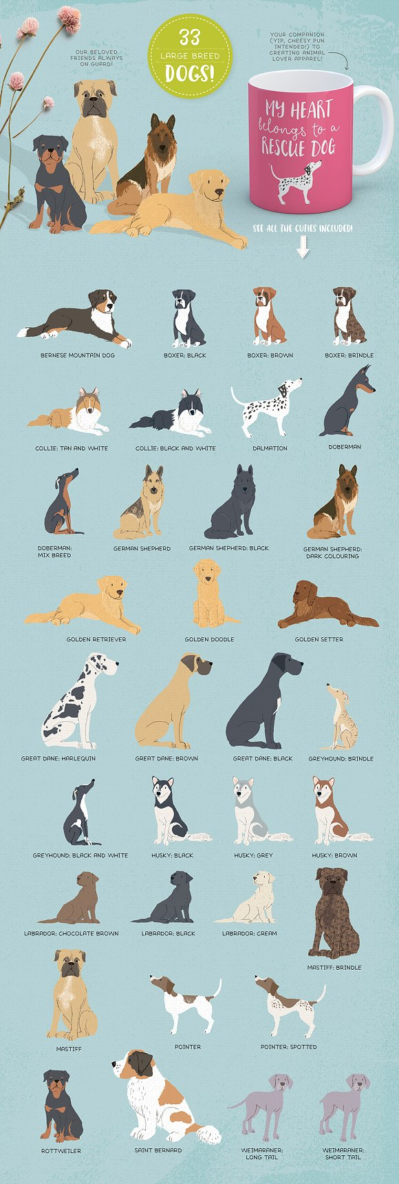Cats, Dog breeds & Horses: 165 pets in Illustrations - product preview 5