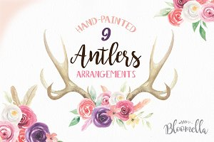 Watercolor Antlers Feather Flowers