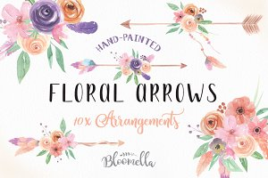 Floral Arrows Watercolor Clipart