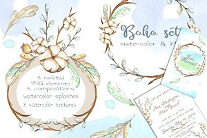 -50% SALE - Watercolor boho set