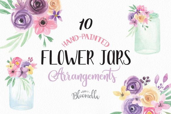 Watercolor Flower Jars Clipart