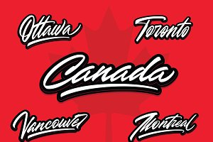 Canada & cities vector lettering