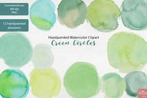 Handpainted Watercolor Green Circles