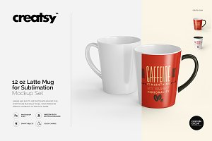 12 oz Latte Mug Mockup Set