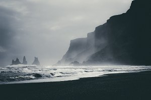 Monochrome Beach Landscape w/ Cliffs