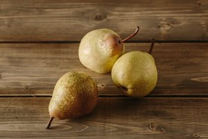 Fresh pears on a table
