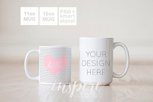 11oz and 15oz Comparision Mug Mockup