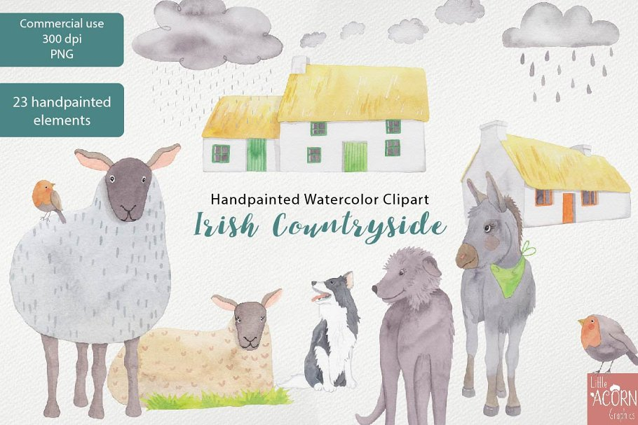 Irish Countryside Watercolor Clipart in Illustrations - product preview 4
