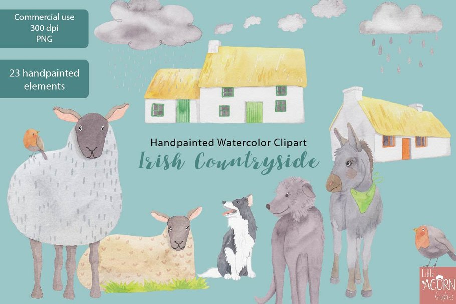 Irish Countryside Watercolor Clipart in Illustrations - product preview 3