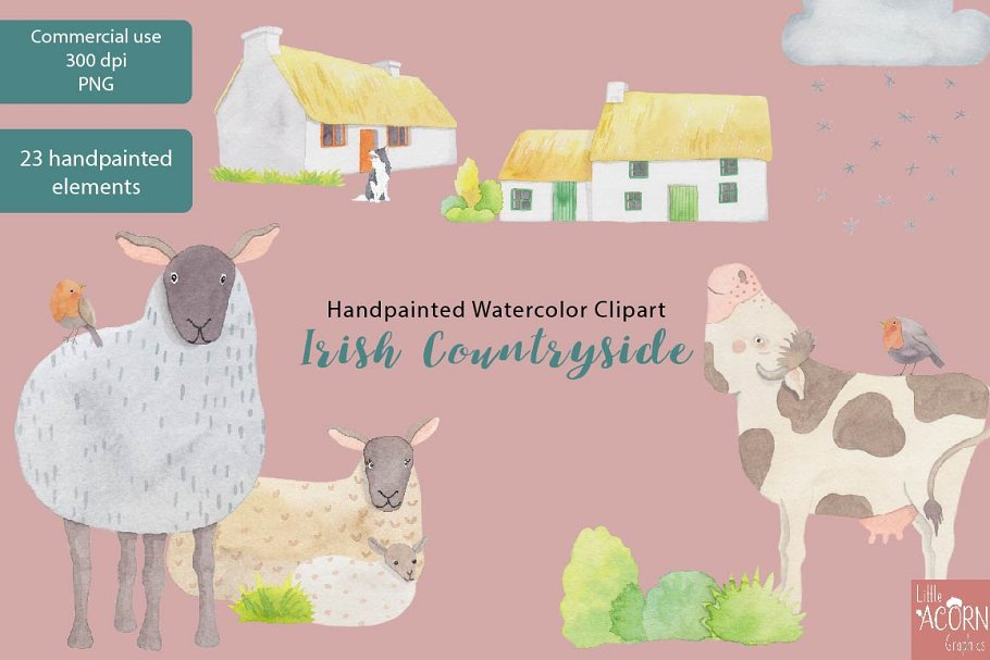Irish Countryside Watercolor Clipart in Illustrations - product preview 2