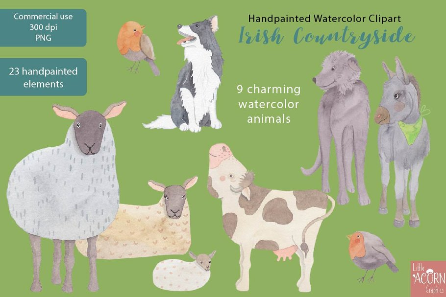 Irish Countryside Watercolor Clipart in Illustrations - product preview 1