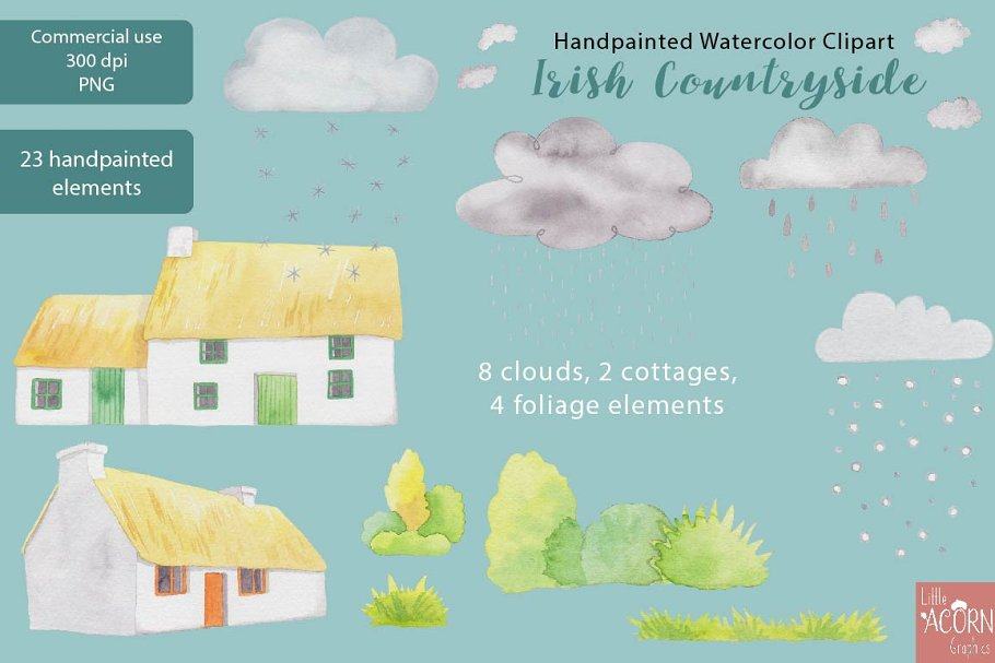Irish Countryside Watercolor Clipart in Illustrations