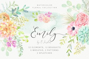Emily. Watercolor floral collection