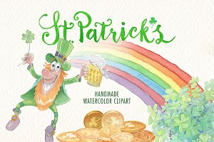 Watercolor st. Patricks clipart set