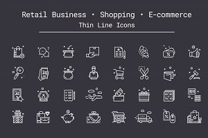 Shopping, E-commerce Thin Line Icons