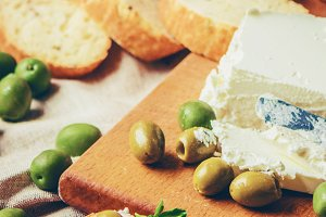 sandwiches with cheese and olives.