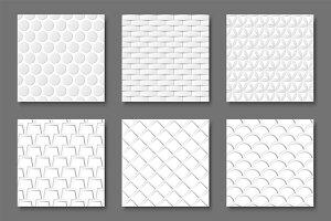 Seamless white geometric textures
