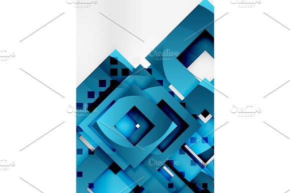 Squares Geometric Object In Light 3D Space Abstract Background