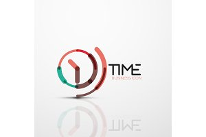 Vector abstract logo idea, time concept or clock business icon