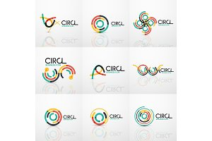 Set of line circles logos