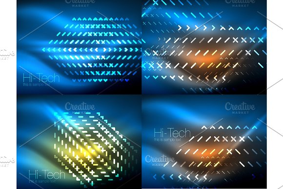Set Of Glowing Neon Lines And Shapes On Dark Shiny Motion Magic Space Light Vector Techno Abstract Backgrounds