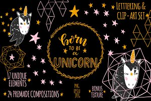 Unicorn Clip Art & Lettering Set