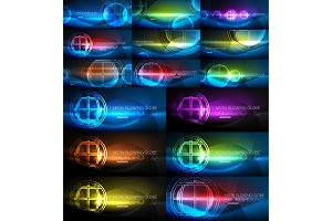 Neon glowing globe light abstract backgrounds collection, mega set of energy magic concept backgrounds