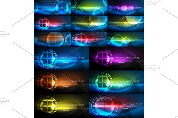 Neon Glowing Globe Light Abstract Backgrounds Collection Mega Set Of Energy Magic Concept Backgrounds