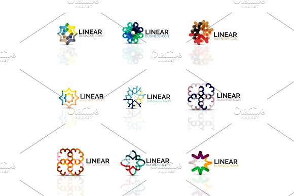 Set Of Geometric Minimalistic Abstract Icons Stars And Flowers Business Fashion Or Beauty Concept