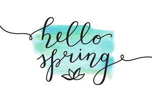 Hello Spring, 25 cards of lettering
