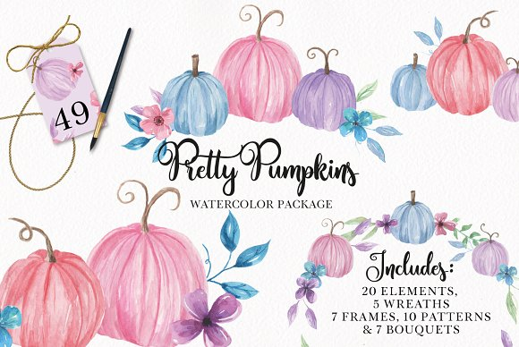 Pretty Pumpkins Watercolor Clipart