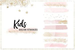 "Brush Strokes ""Kids"" Pink Gold"