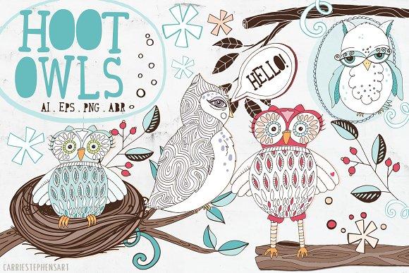 Hoot Owls ClipArt PNG Vector
