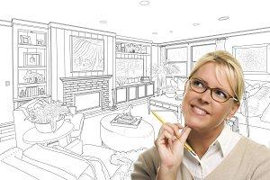 Woman Over Custom Room Drawing/Photo