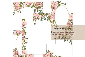 Watercolor Blush and Gold Frames