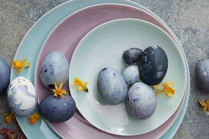 Blue Easter eggs with dry yellow daffodils on blue plates