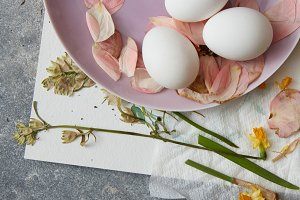 Easter eggs with flowers decoration on a pink plate on stone background