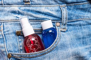 Travel shampoo bottles jeans pocket